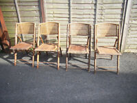old bamboo & cane folding chairs x4