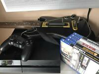 Selling a PlayStation 4 with 5 games, controller and a guitar, PS4