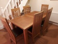 Extending Oak Dining Table & 6 Chairs