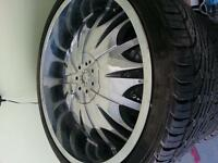 "22"" Crome Rim with Falcon tire"