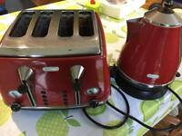 RED Delonghi Toaster and Kettle set