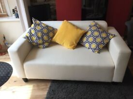 Compact 2 seater sofa cream fabric immaculate condition
