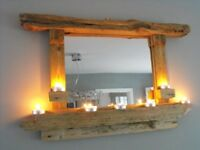 handmade driftwood mirror with free candle sconce