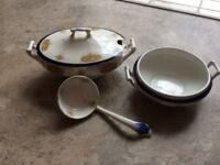W H Grindley Gravy Tureen and ladle + small bowl