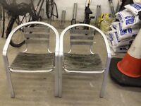 Two aluminium garden chairs for sale