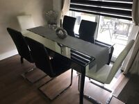 Mirrored Dining Room Table c/w 6 leather chairs. ( 6 ft x 3 ft).