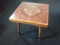 "Vintage Tile Top Side Table - 1970s - Retro Table -h=15.5"" x top=16.5"" x 16.5""(6"