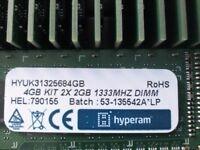 brand new 50x hyperam 4gb (kit 2x2gb) 1333mhz