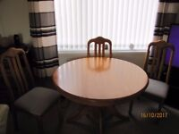 dining table and 4 chairs in good condition few little marks on the table nothing much
