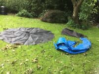 Trampoline 10ft, dismantled, included safety net. Dismantled, ready for collection