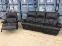 Leather recliner chair and sofa