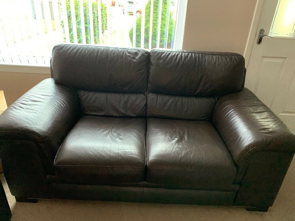 Two 2 Seater Brown Leather Sofas In