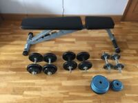 Weights Bench (foldable) and Dumbbell Set