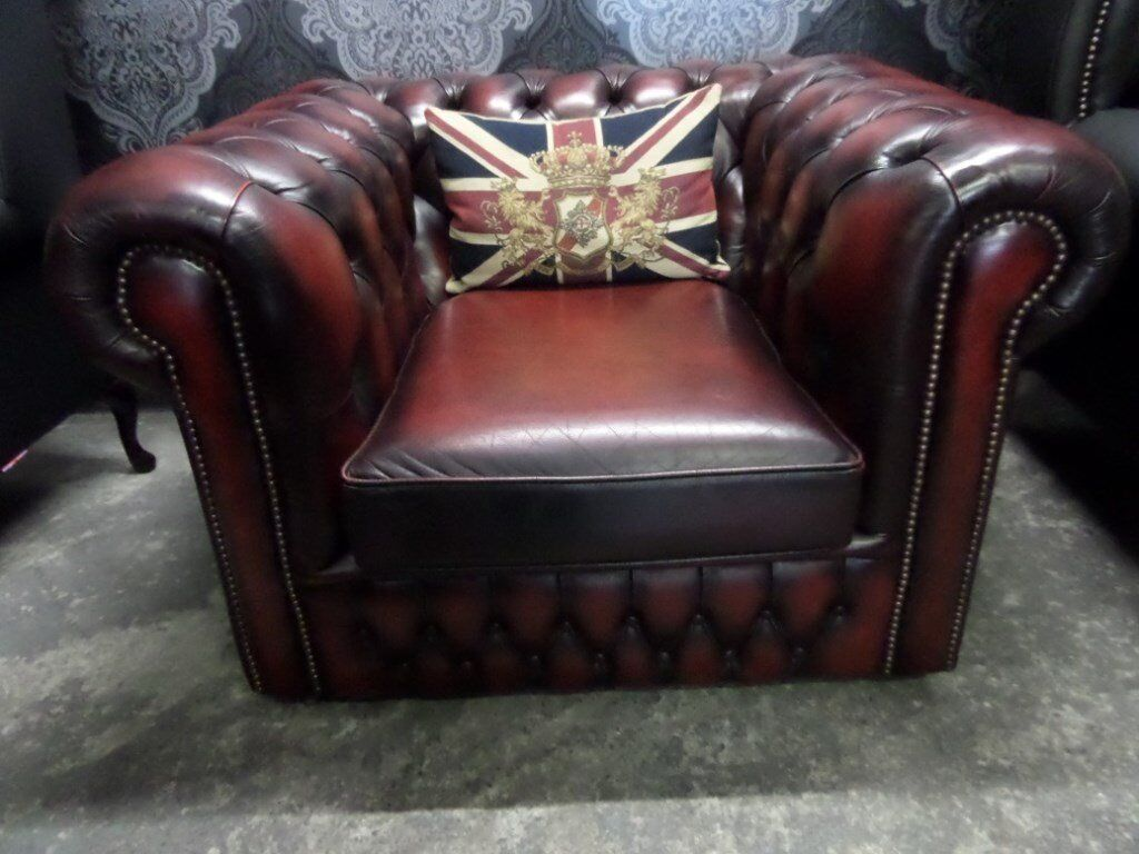 Stunning Chesterfield Club Arm Chair in Oxblood red Leather - Uk Delivery