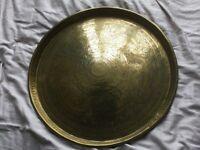Antique brass tray circular ornate/decorative 48cm diameter
