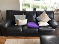 Leather 3 Seater Sofa Bed (Dark Brown)