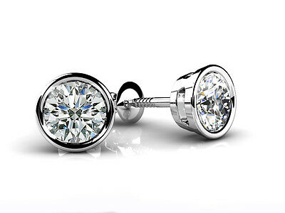1 Carat Round Diamond Studs Platinum Martini Style Earrings triple EX I VS2 GIA 9