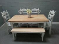 Bespoke Shabby Chic table/bench Set