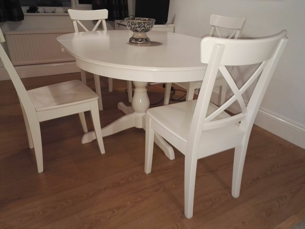 Ikea dining room set ingatorp table ingolf chairs for Dining room extendable table