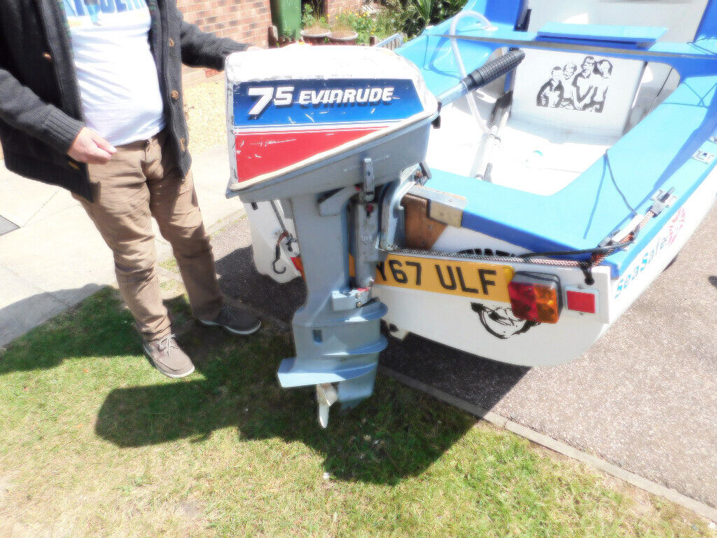 Long Shaft Evinrude 2 stroke 7 5HP outboard engine yamaha 25ltr metal fuel  tank excellent runner | in Littlehampton, West Sussex | Gumtree