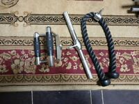 Triceps pull down bar, Triangle row grip, Triceps rope (Great condition)