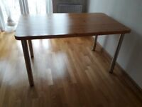 Dining Table with Pine top & Metal legs - neat condition