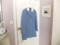 M&S Limited Edition 2016 - Ladies Pale - Blue woollen coat Size 12 - £55
