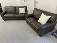 Keens luxury compact dark brown leather sofas suite