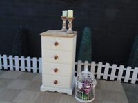 SOLID PINE FARMHOUSE TALL CHEST OF DRAWERS WITH DOVETAIL DRAWERS PAINTED WITH LAURA ASHLEY