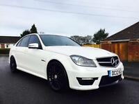 MERCEDES C63 2012 45k MILES 456 BHP SALOON PEARL WHITE AMAZING CAR AND SOUND