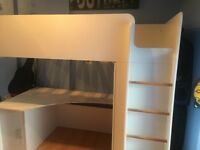 High sleeper cabin bed excellent condition with work desk and cubard suits age 5-14 very spacious .