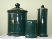 Hornsea Pottery Regency Dark Green Spaghetti jar, Utensil holder and Bread bin