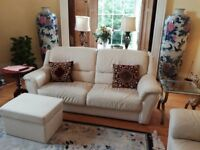 Ivory colour 3 seater settee, single armchair and footstool