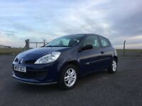 Renault Clio 2007 Blue, 1 Yrs MOT, New Battery, Low milage, Full Tank Of Fuel