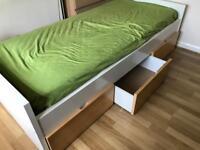 Wardrobe + bed + drawer