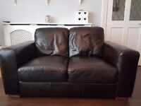 PRICE REDUCED - For Sale - 2 x Next Chocolate Leather 2 seater sofas