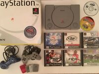Excellent PS1 Bundle - Playstation in Original Box + 8 Games + 2 Controllers + 4 Memory Cards