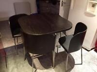 Black 4 chairs and table
