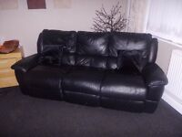 Black 3 Seat Leather Recliner, Bargain £50.00