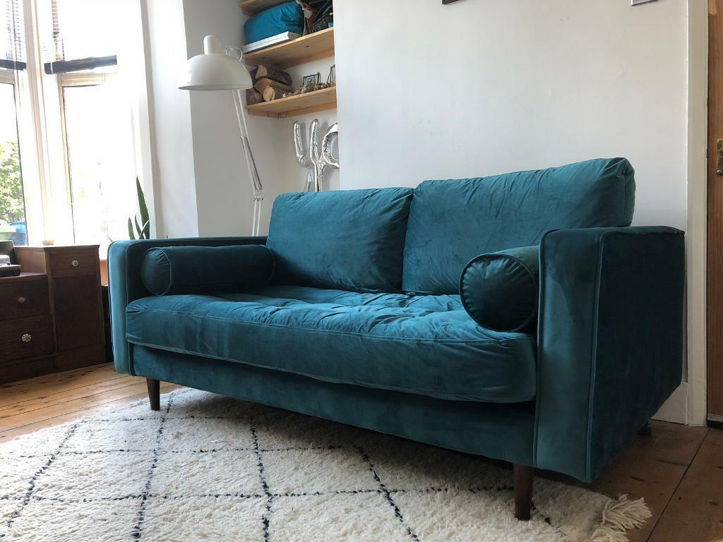 Made Scott Velvet Sofa In Petrol Blue In East Dulwich London Gumtree