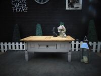 SOLID PINE LARGE COFFEE TABLE WITH 1 DRAWER PAINTED WITH LAURA ASHLEY GREY COLOUR