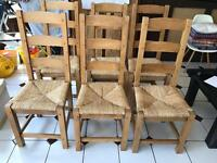 6 wooden dining chairs