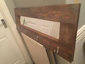 Handmade Wooden Acryllic Mirror/ Coat Hook