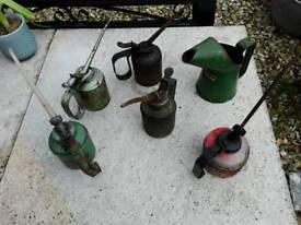 6 X VINTAGE RETRO OIL CANS WESCO HALFORDS AND OTHERS