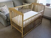 Mothercare Wooden Cot plus mattress