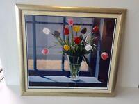 Tulips by Window framed print
