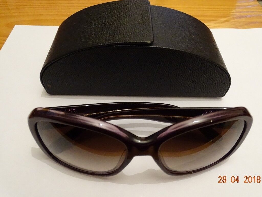 89730d9900e buy prada sunglasses black like new 26460 97b80  get sunglasses for women  design prada dark purple with polarised vision. rarely used like new