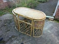Oval Cane Table with 2 Chairs Ideal for Patio or Conservatory