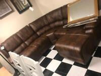 Leather recliner corner sofa