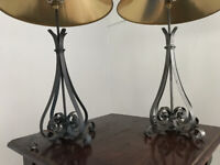 Two metal lamps and green gold shades